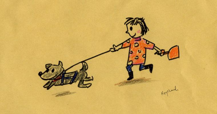 イラストカット「母と犬」