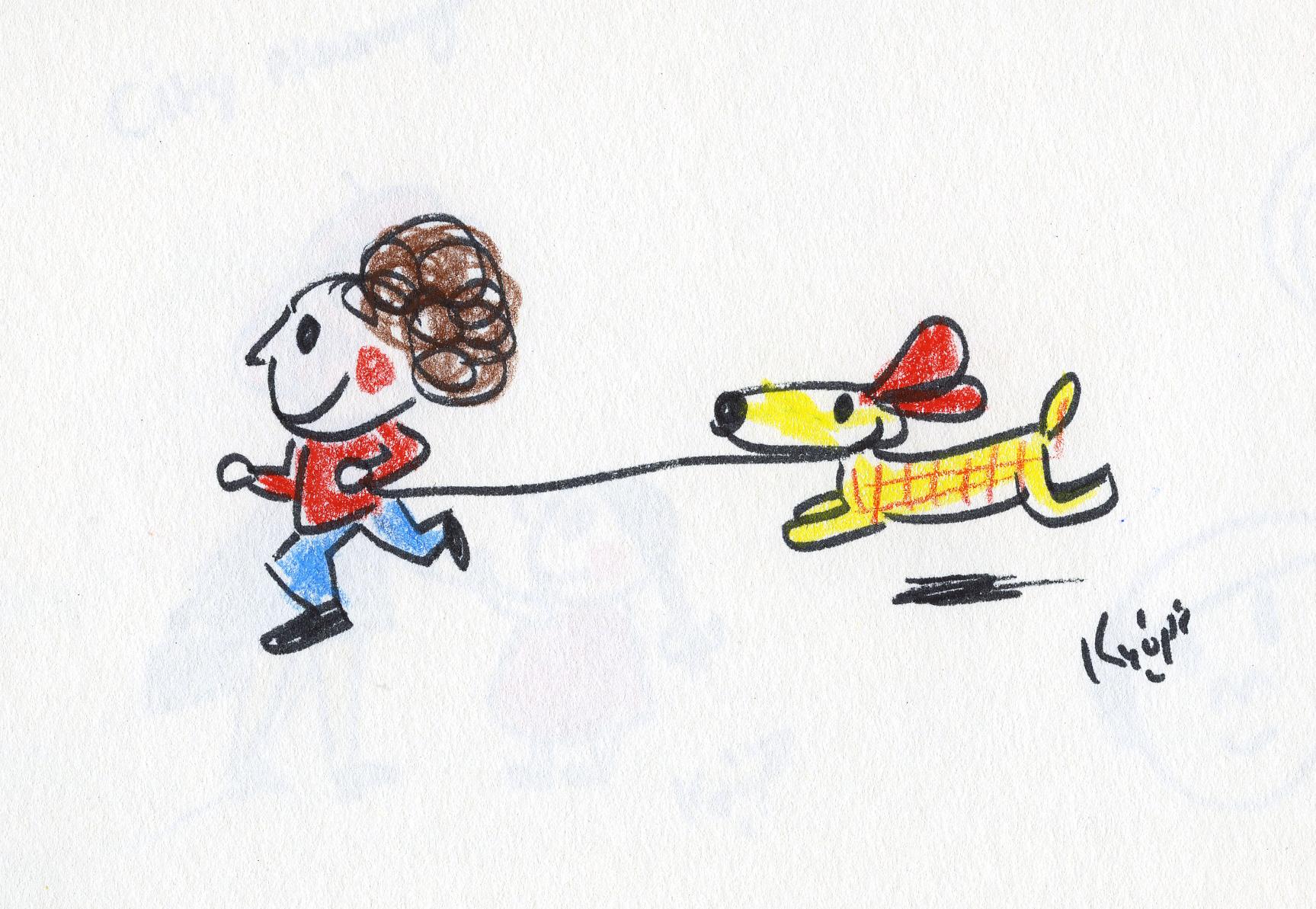 イラストカット「me and my dog」