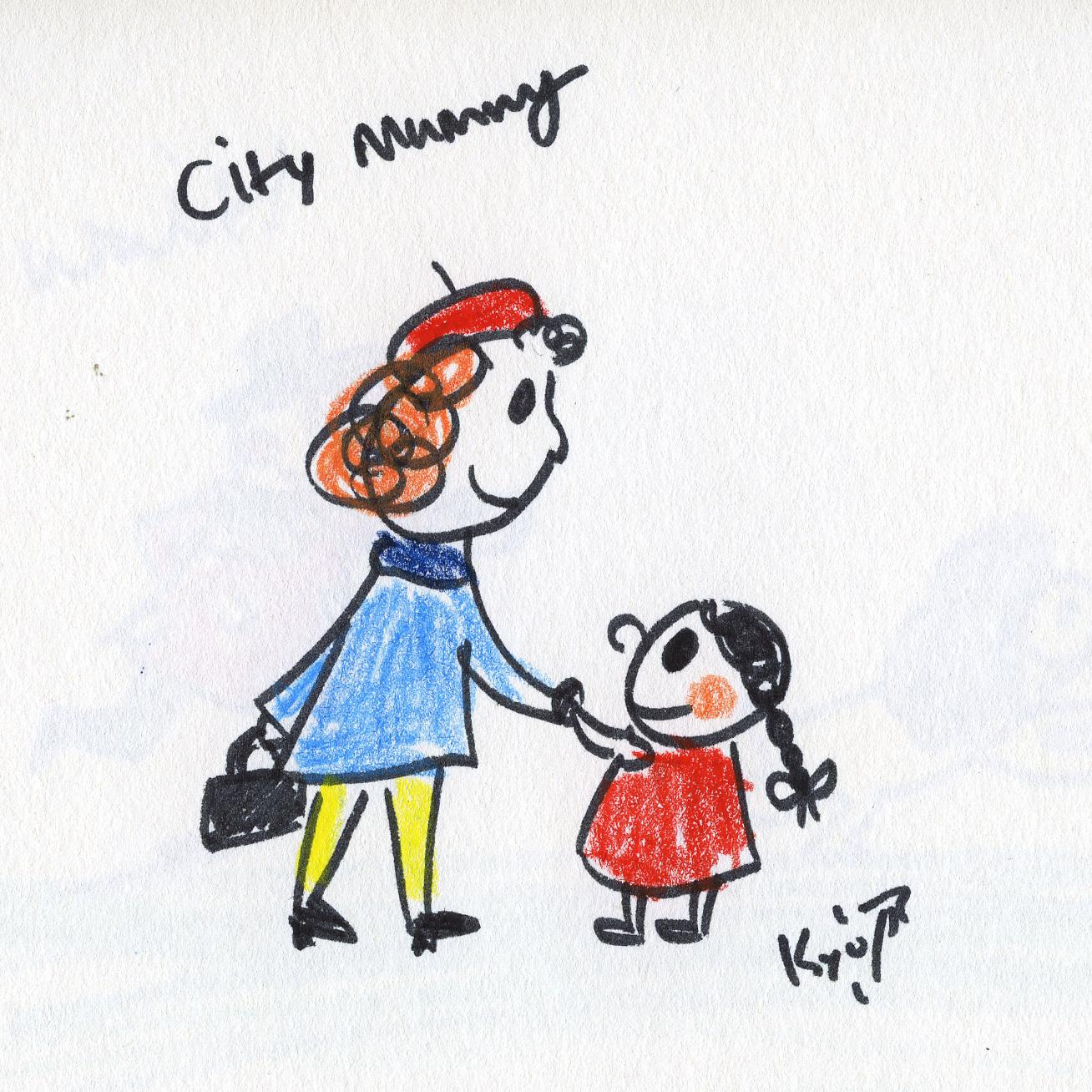 イラストカット「city mum」